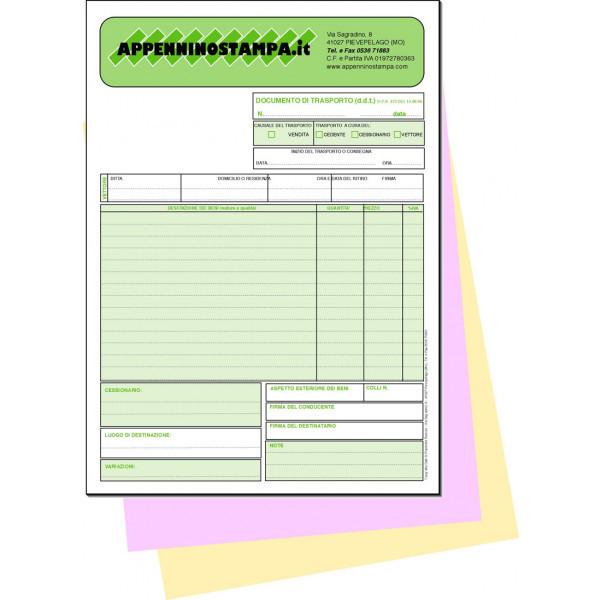 Fascicoli 3 copie in carta chimica A5