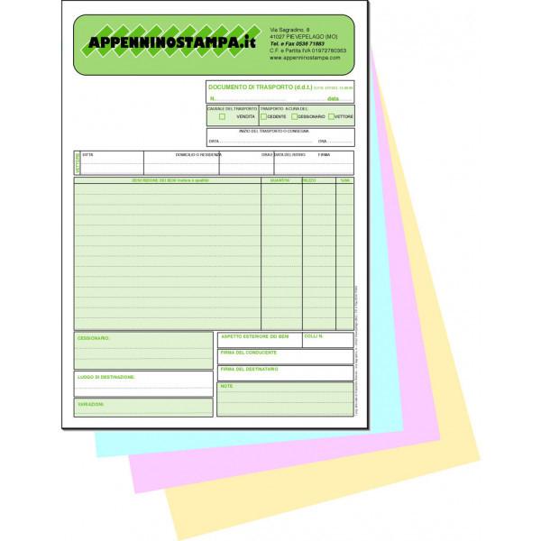 Fascicoli 4 copie in carta chimica A4