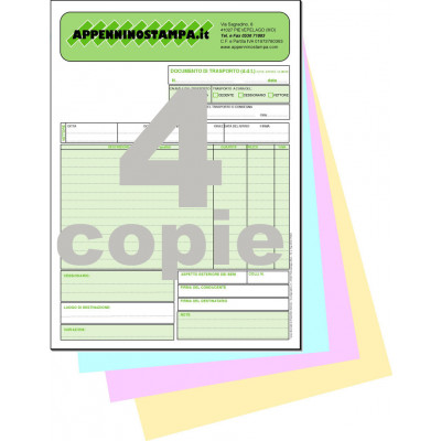 Fascicoli 4 copie in carta chimica A5